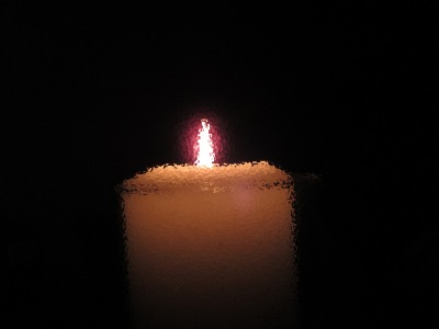 church candle, single flame, white candle